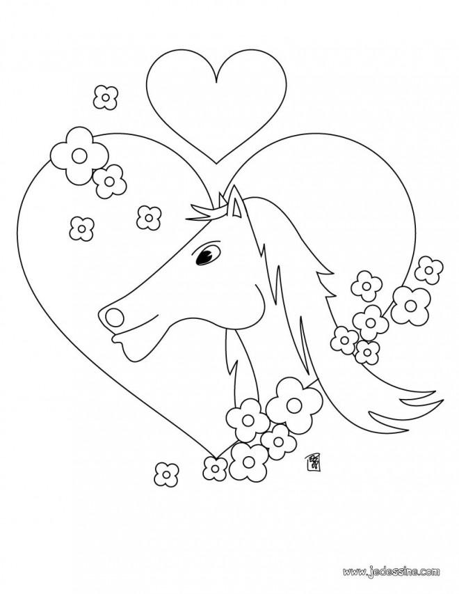 Coloriage et dessins gratuits L'amour des chevaux à imprimer