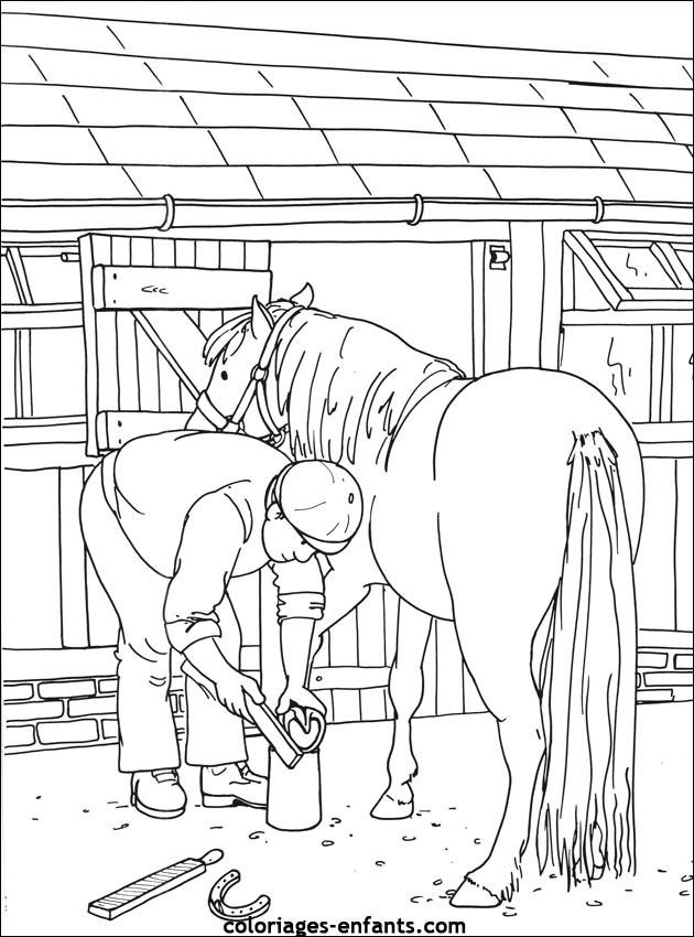 Coloriage et dessins gratuits Le cheval et son maître à imprimer