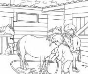 Coloriage et dessins gratuit Le Petit Cheval se baigne à imprimer