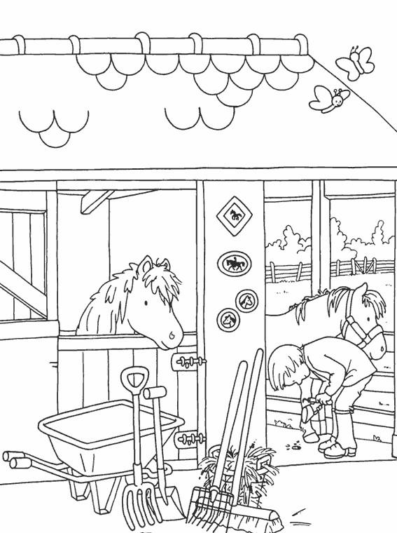 Coloriage et dessins gratuits Les Chevaux de La ferme à imprimer