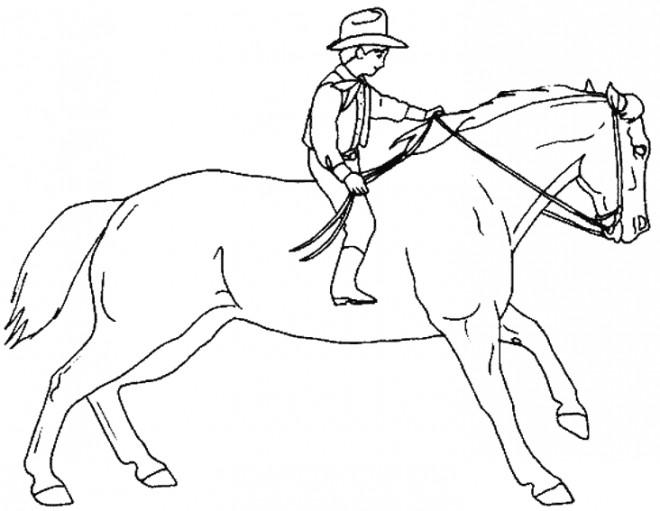 Coloriage et dessins gratuits Petit cavalier sur grand cheval à imprimer