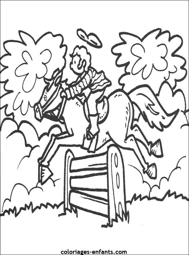 Coloriage et dessins gratuits Petit cheval dépasse l'obstacle à imprimer