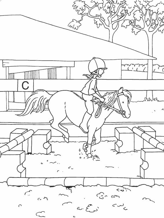 Coloriage et dessins gratuits Petite cavalière s'entraîne avec son cheval à imprimer