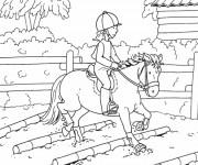Coloriage et dessins gratuit Petite cavalière sur cheval à imprimer