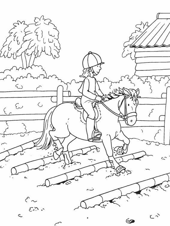 Coloriage petite cavali re sur cheval dessin gratuit imprimer - Dessin cavaliere ...