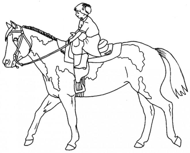 Coloriage et dessins gratuits Petite fille monte sur le cheval à imprimer