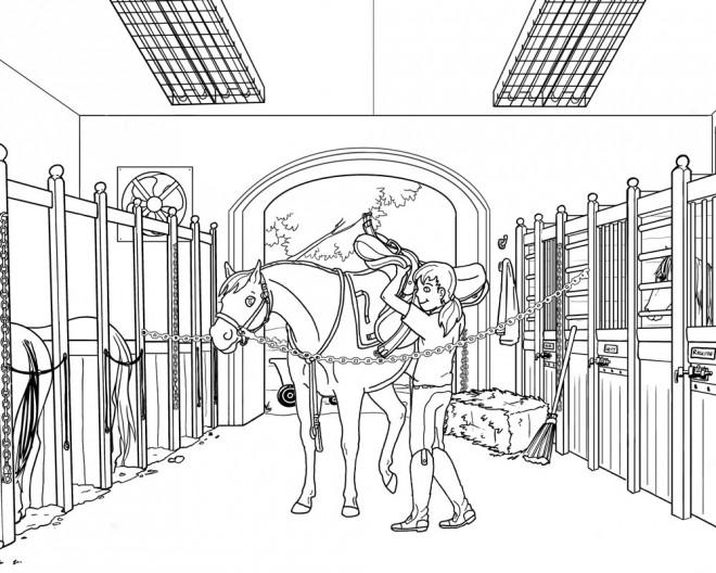Coloriage un cheval et sa selle dessin gratuit imprimer - Dessin cheval de course ...