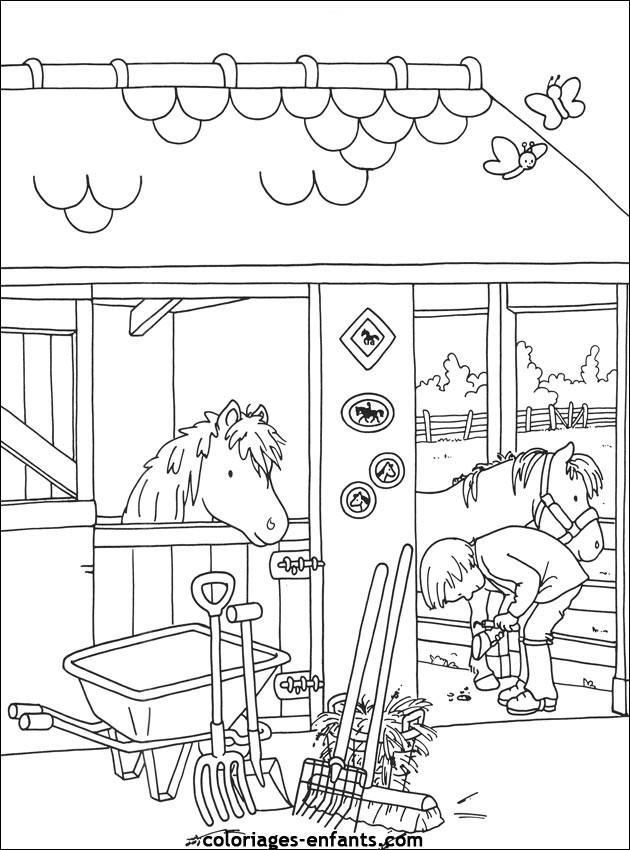 Coloriage et dessins gratuits Un cheval qui sort la tête de son box à imprimer