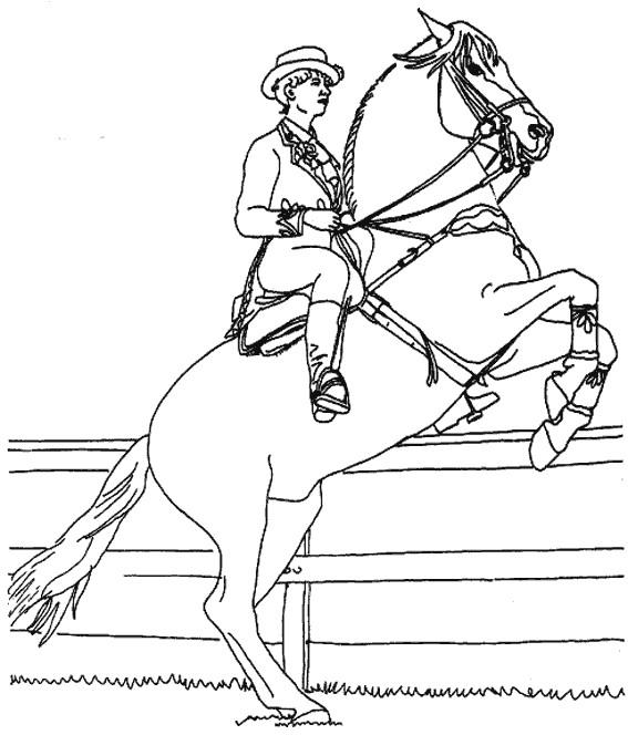 Coloriage et dessins gratuits Un cheval tout en sautant à imprimer