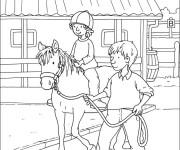 Coloriage et dessins gratuit Une Fille apprend L'Équitation à imprimer