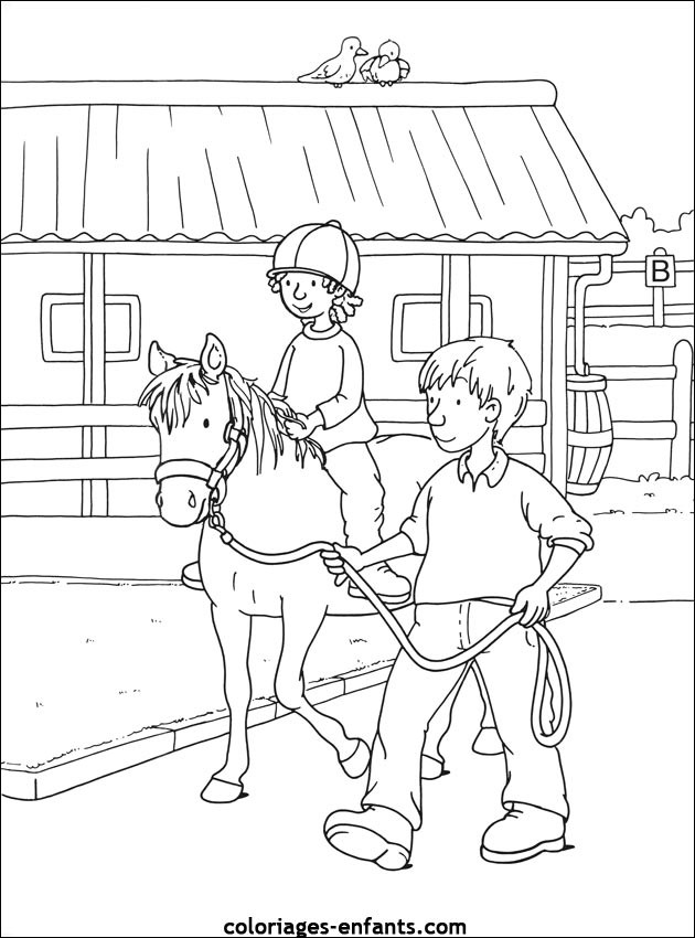 Coloriage et dessins gratuits Une Fille apprend L'Équitation à imprimer