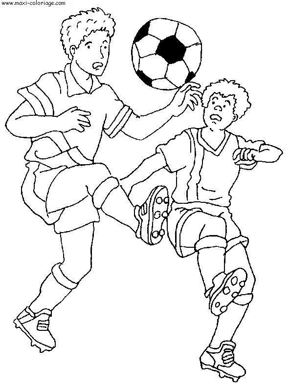 Coloriage et dessins gratuits Ballon entre deux Joueurs à imprimer