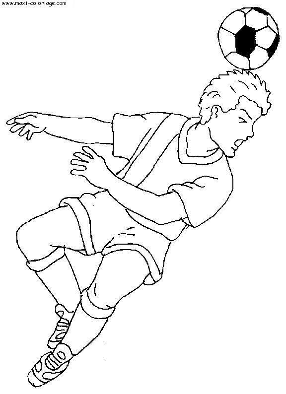 Coloriage et dessins gratuits Football Frappe avec la tête en noir à imprimer
