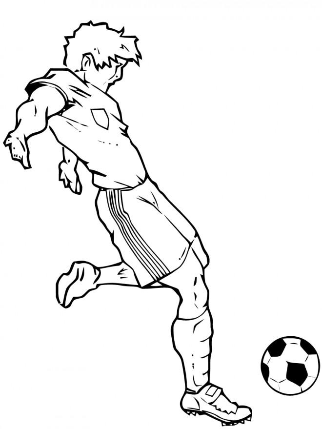 Coloriage et dessins gratuits Football joueur et Ballon à imprimer
