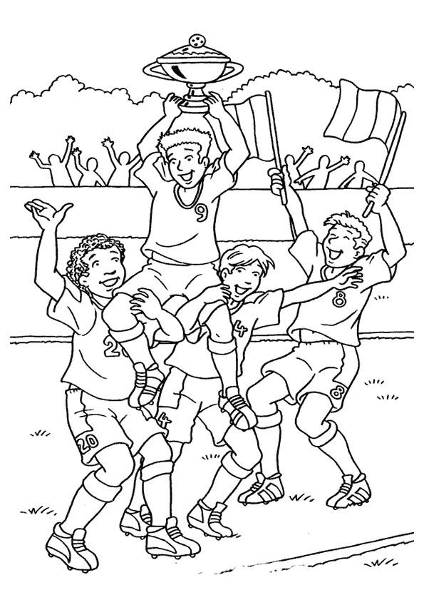 Coloriage et dessins gratuits Football La joie de gagner La Coupe à imprimer