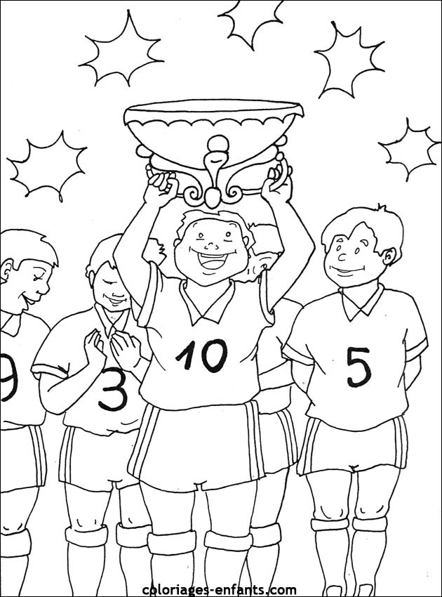 Coloriage et dessins gratuits Football le trophé à imprimer