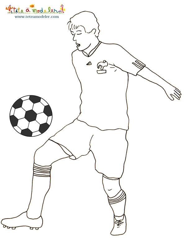 Coloriage footballeur fran ais dessin gratuit imprimer - Image de joueur de foot a imprimer ...