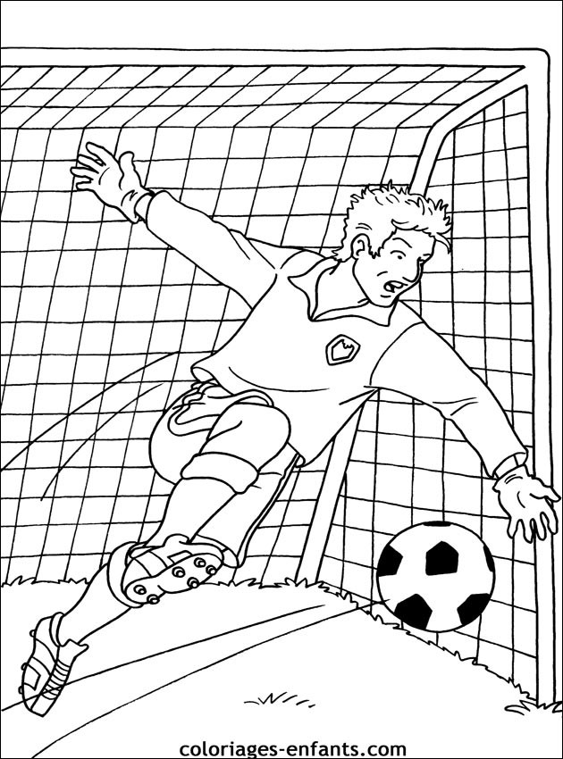 Coloriage Match De Football.Coloriage Gardien De But Dessin Gratuit A Imprimer