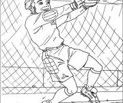 Coloriage et dessins gratuit Gardien de But arrête le ballon à imprimer