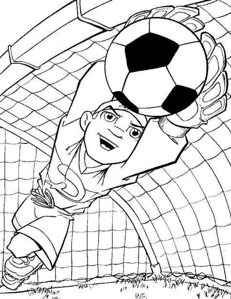 Coloriage et dessins gratuits Gardien de But en arrêtant le Ballon à imprimer