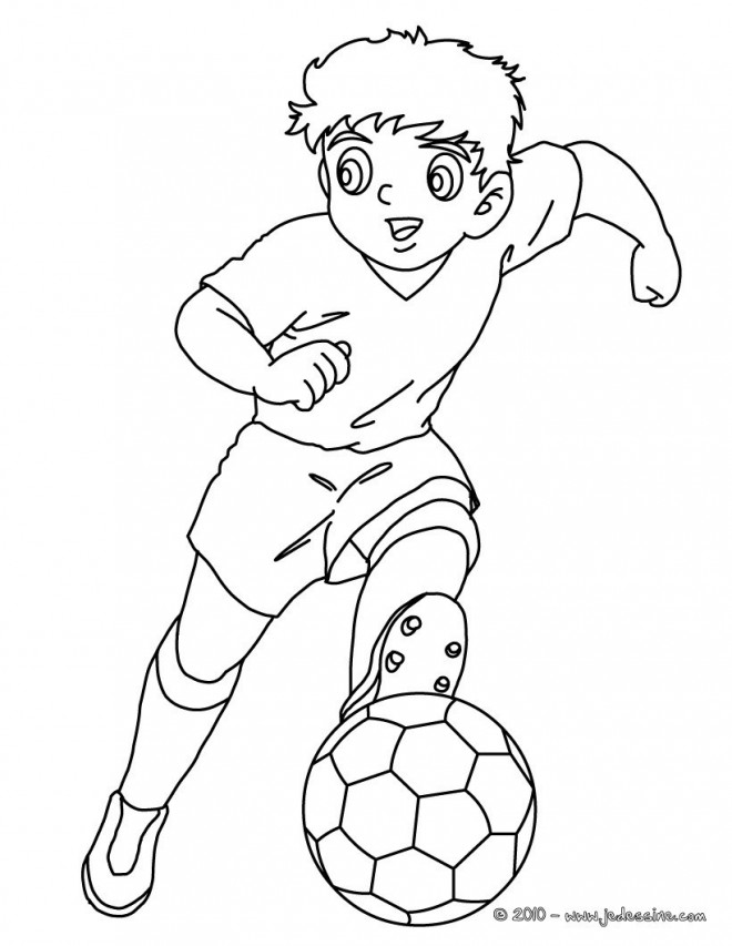 Coloriage et dessins gratuits Joueur de Foot dessin animé à imprimer