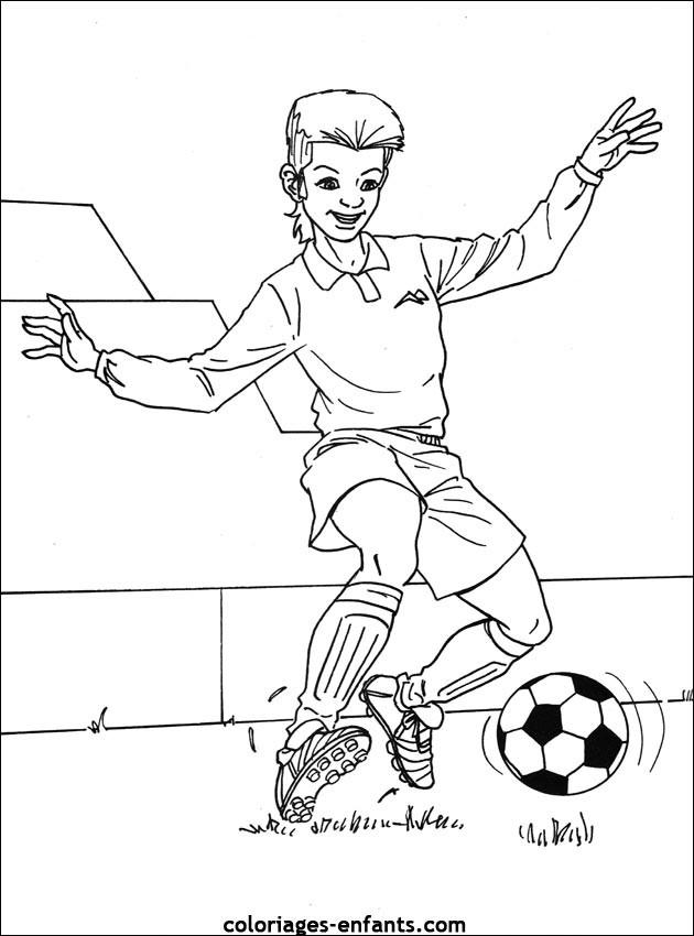 Coloriage joueur de foot enfant dessin gratuit imprimer - Image de joueur de foot a imprimer ...