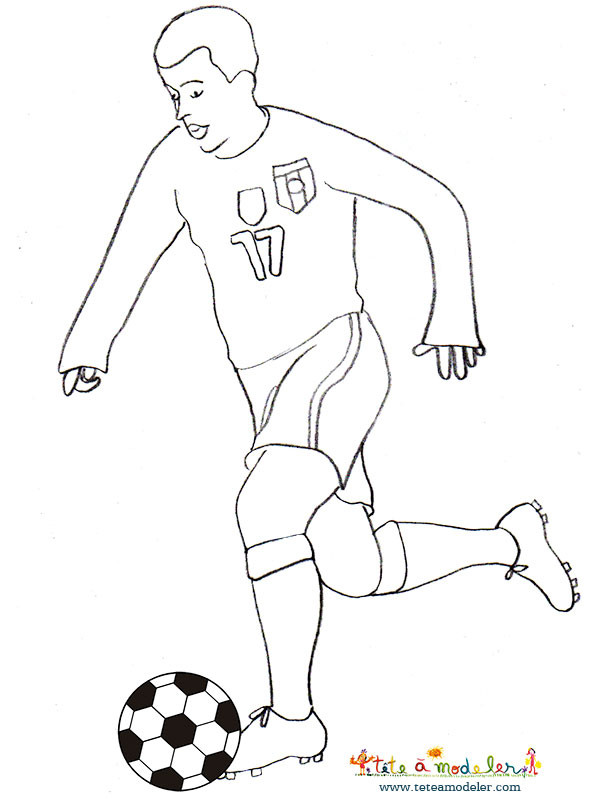 Coloriage joueur de foot simple dessin gratuit imprimer - Image de joueur de foot a imprimer ...