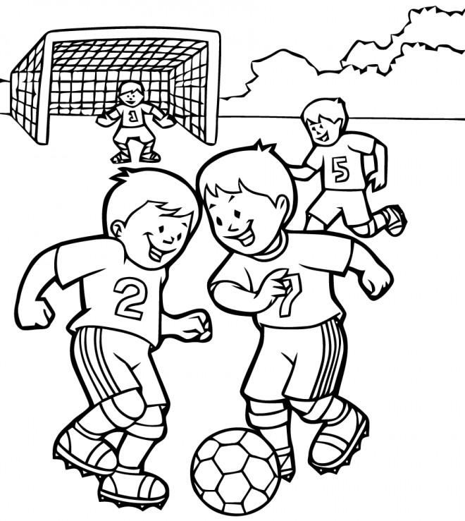 Coloriage Match de Football vecteur dessin gratuit à imprimer