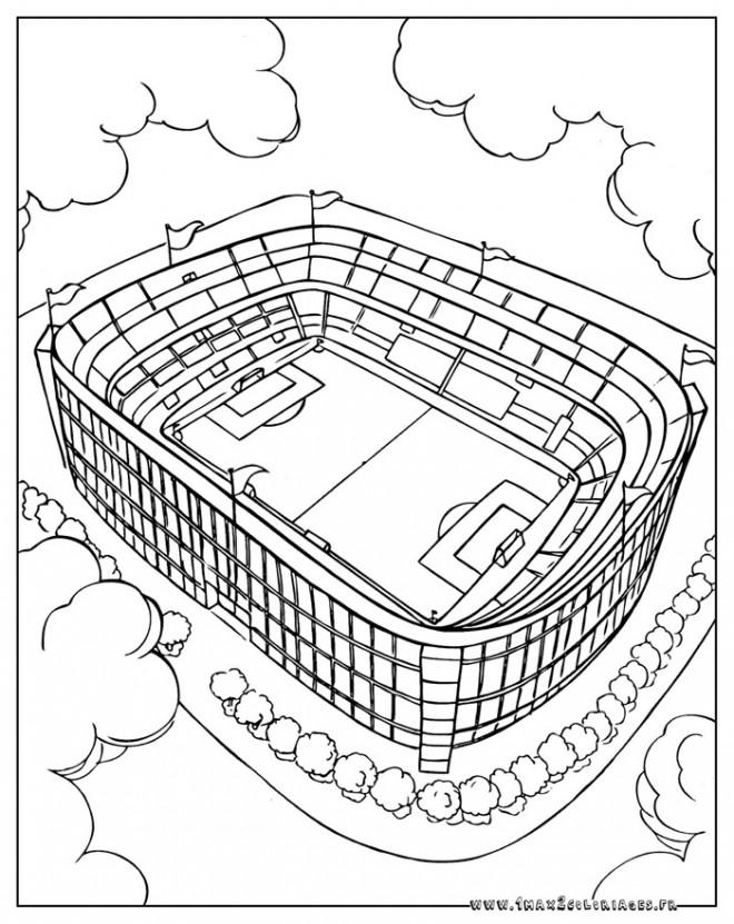 Coloriage Geant A Imprimer En Plusieurs Parties.Coloriage Un Stade De Football Dessin Gratuit A Imprimer