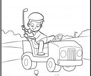 Coloriage et dessins gratuit Enfant joue au Golf drôle à imprimer