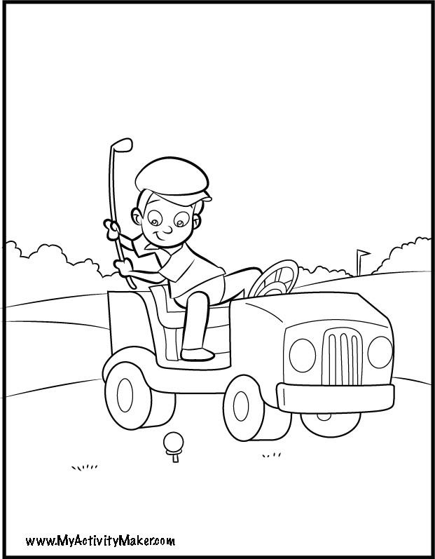 Coloriage et dessins gratuits Enfant joue au Golf drôle à imprimer