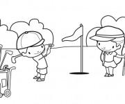 Coloriage et dessins gratuit Enfants jouent au Golf à imprimer
