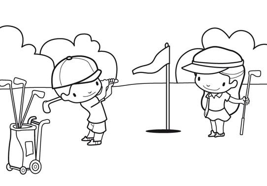 Coloriage et dessins gratuits Enfants jouent au Golf à imprimer