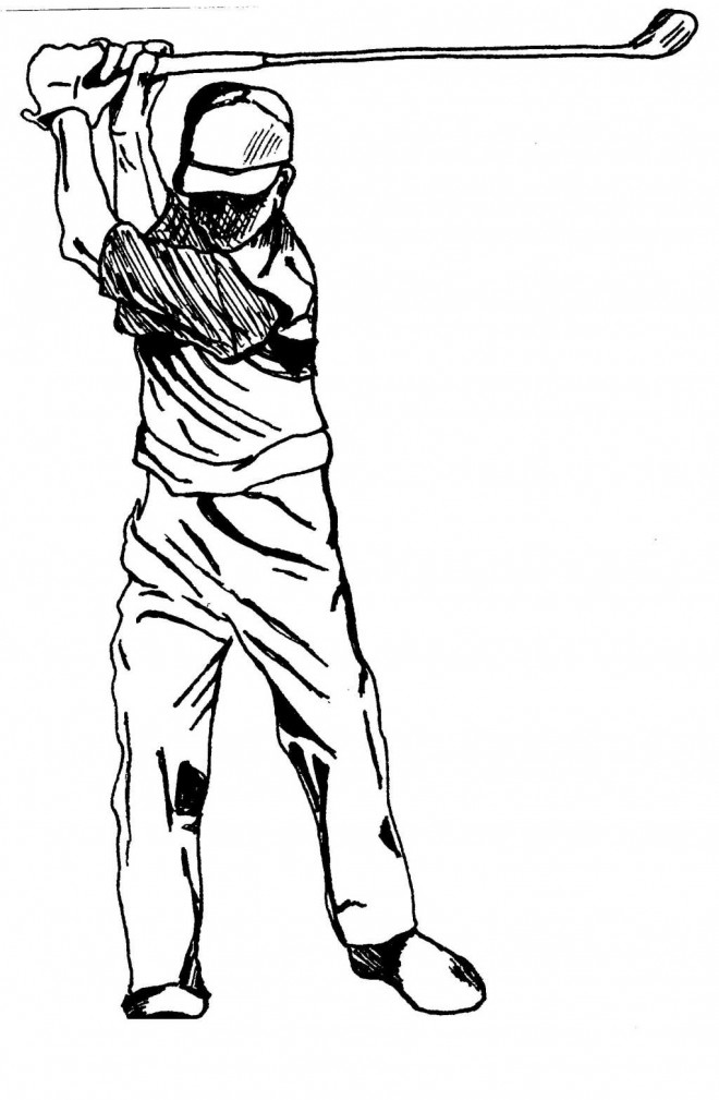 Coloriage Golf adulte au crayon dessin gratuit à imprimer