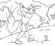 Coloriage Golfeur en train de tirer la balle