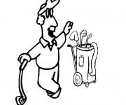 Coloriage Golfeur et son sac