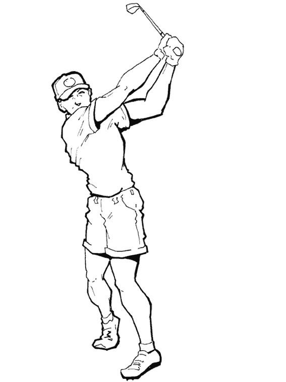 Coloriage et dessins gratuits Golfeur tire La balle à imprimer