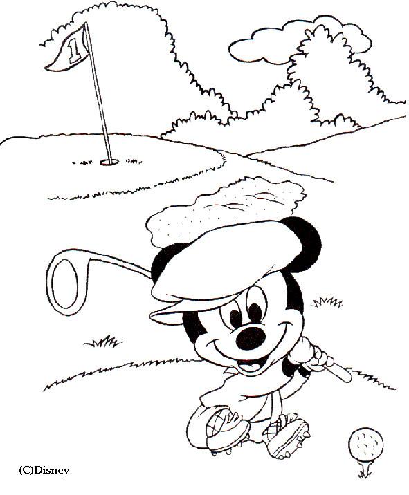 Coloriage et dessins gratuits Mickey Golfeur à imprimer