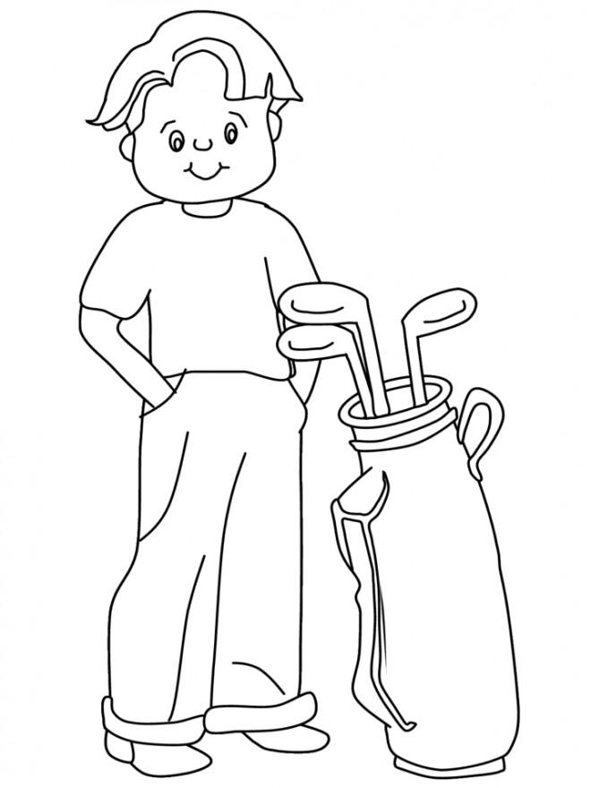 Coloriage et dessins gratuits Petit Golfeur souriant à imprimer