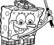 Coloriage Spongebob joue au Golf