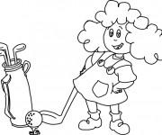 Coloriage et dessins gratuit Une fille joue au Golf à imprimer