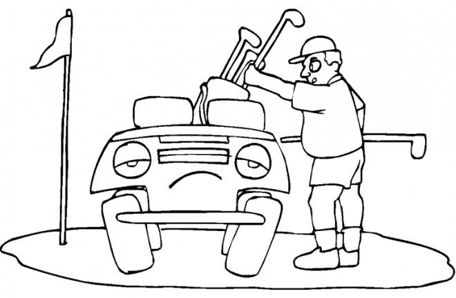 Coloriage et dessins gratuits Voiture de Golf triste à imprimer