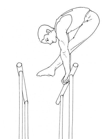 Coloriage et dessins gratuits Barre asymétrique en Gymnastique à imprimer
