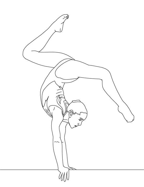 Coloriage et dessins gratuits Femme gymnaste sur poutre à imprimer