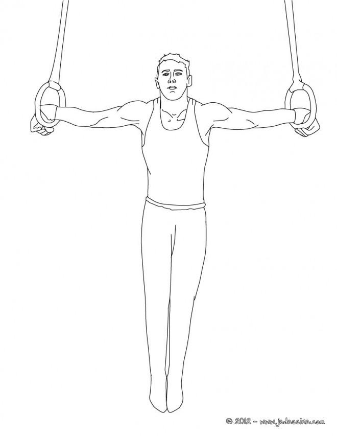 Coloriage et dessins gratuits Gymnaste en Anneaux à imprimer