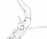 Coloriage Gymnaste et barre asymétrique