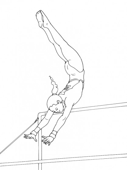 Coloriage de gymnastique au barre www - Dessin gymnaste ...
