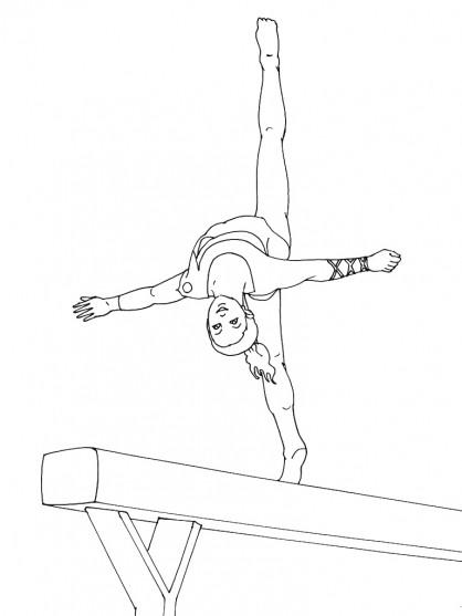 Coloriage et dessins gratuits Gymnaste souple sur Poutre à imprimer