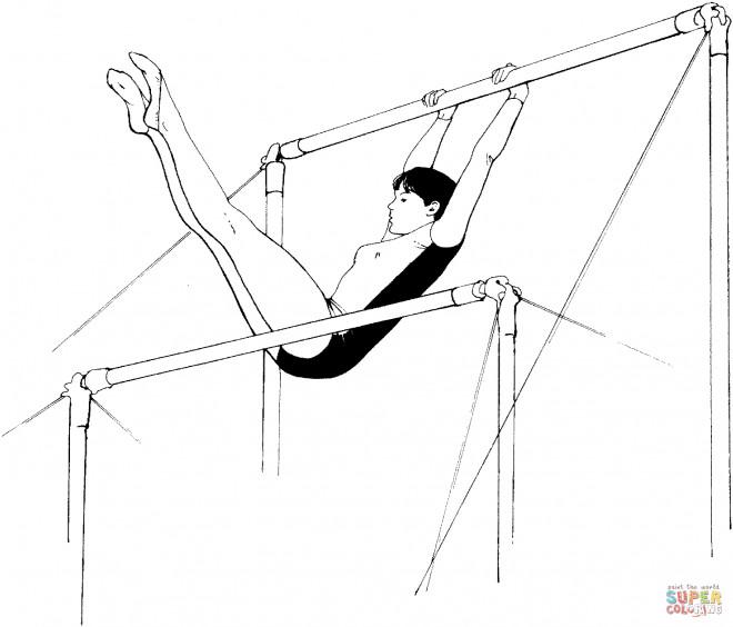 Coloriage et dessins gratuits Gymnaste sur la barre asymétrique à imprimer