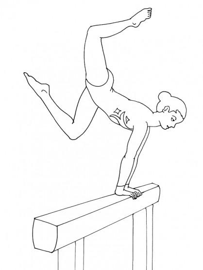 Coloriage et dessins gratuits Gymnaste sur la poutre à imprimer